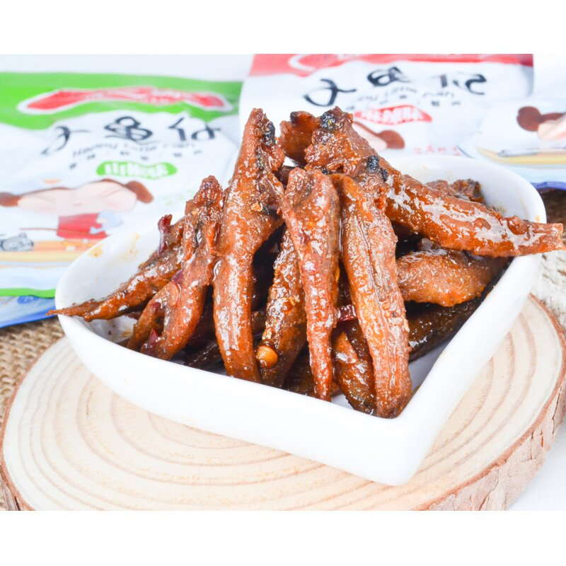 Excellent source of fish larvae snack spicy dried fish snacks office casual snack spicy flavor 16g/bag