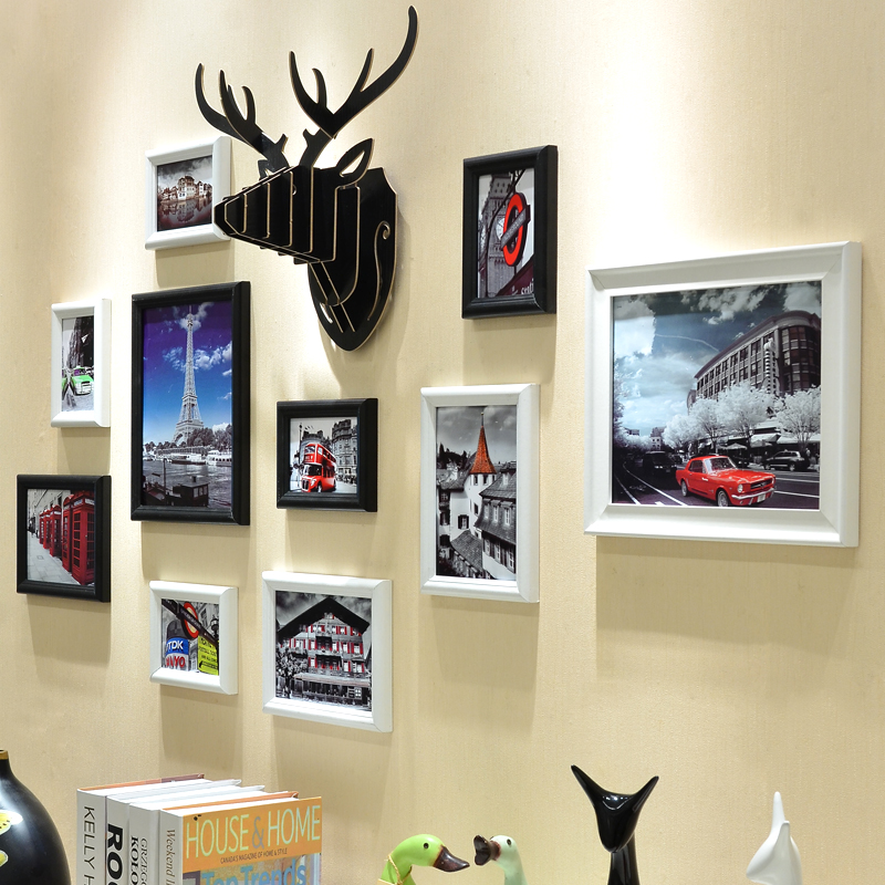 Exquisite european modern minimalist living room wall creative combination photo frame wall frame wall decoration deer