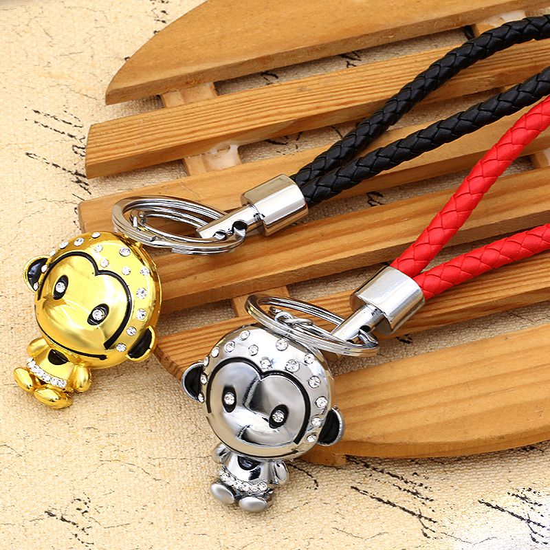 Exquisite gift diamond monkey monkey cartoon keychain key ring gift keychain pendant braided rope lanyard key chain
