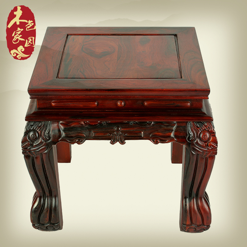 Exquisite single board tiger mahogany red rosewood carved wood antique mahogany wood mahogany square stool stool stool