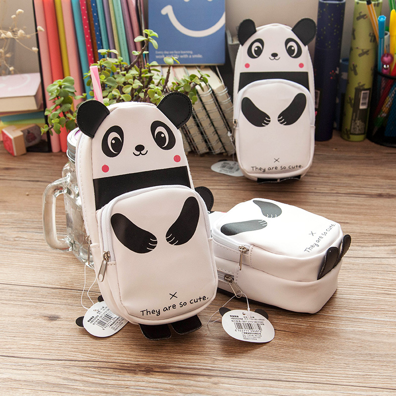 Extensive creative cute panda leather pencil case pencil case pencil box pencil case multifunction large capacity pencil student HBD02358