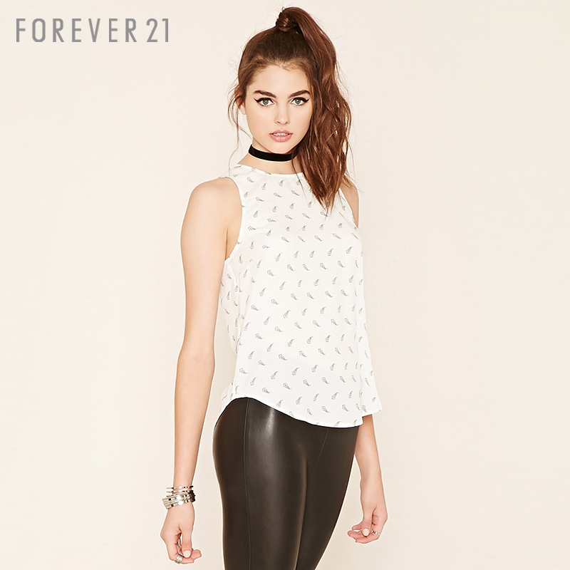 [F21] forever21 national wind printed sleeveless chiffon blouse lace shirt/chiffon shirt
