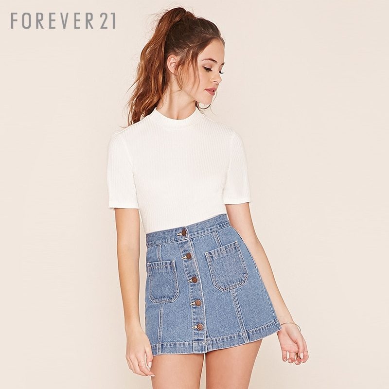949a3523324 Get Quotations ·  F21  single breasted denim high waist skirts mini skirts  forever21