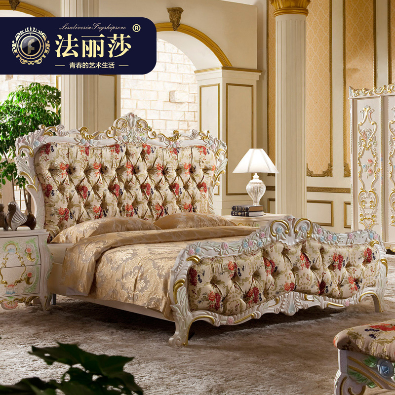 Fa lisha furniture continental bed double bed wood bed garden bed princess bed 1.8 m french bed marriage bed 1.5 m g3