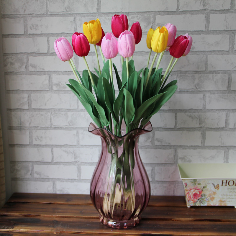 Factory direct wholesale silk flower simulation tulip single branch tulip artificial flowers artificial flowers placed floral decoration desktop