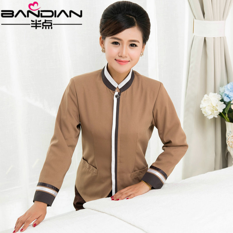 Fall and winter clothes female hotel room cleaning service cleaning sleeved aunt property cleaning staff sleeved overalls cleaners cleaning clothing