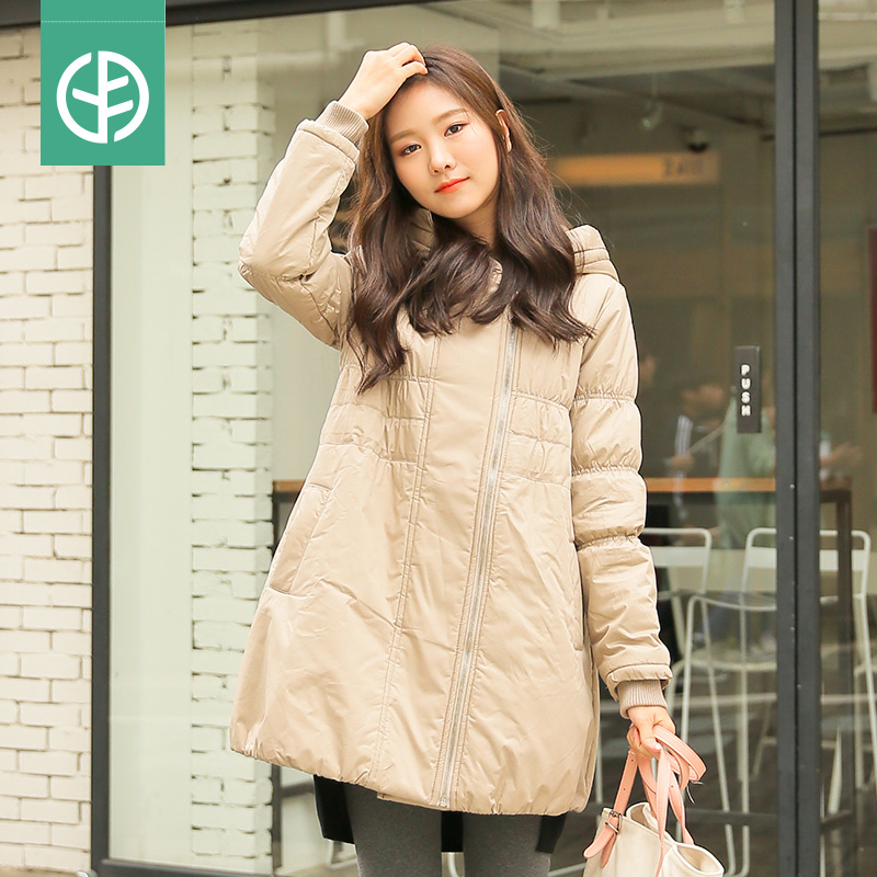Fall and winter clothes for pregnant women plus thick velvet hooded padded jacket winter coat korean pregnant women maternity winter jacket fitted jacket