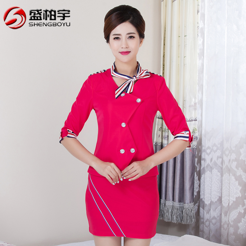 Fall and winter clothes women suit skirt stewardess uniforms sleeved overalls beauty salon technician foot reflexology foot massage clothes shop