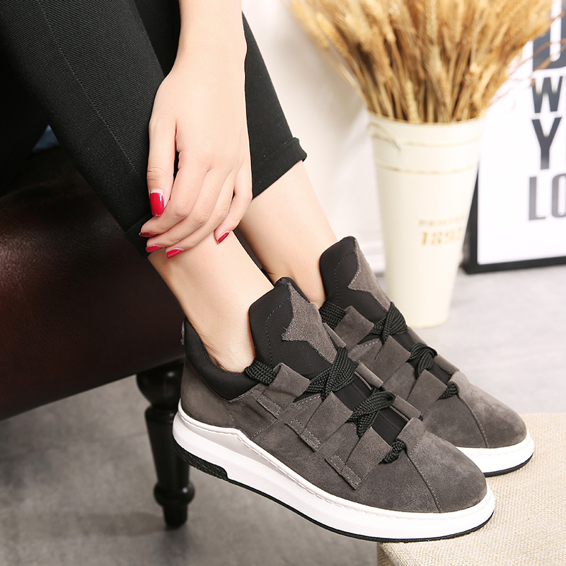 Fall flat shoes women shoes leather nubuck leather lace casual shoes student korean sports shoes women shoes thick crust