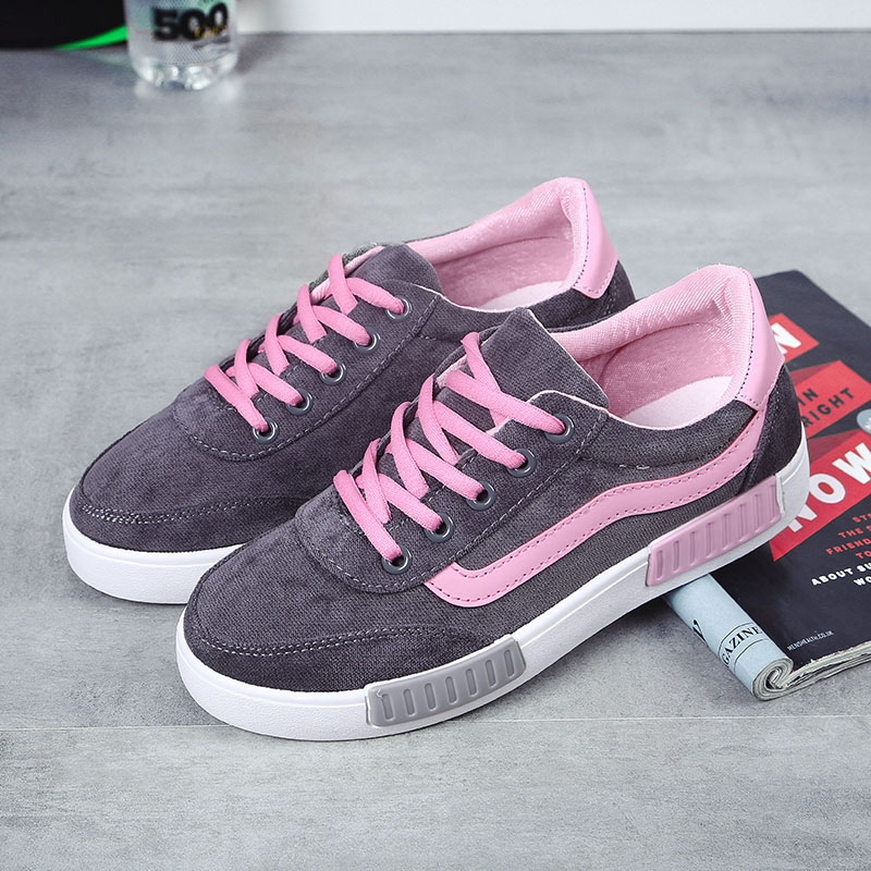 Fall in love with hui autumn korean version of canvas shoes women shoes student shoes to help low shoes lace casual shoes women flat shoes women shoes tide