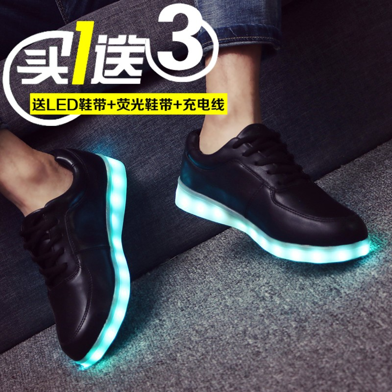 Fall shoes women shoes lace shoes male students led rechargeable colorful lights luminous couple shoes running shoes tide