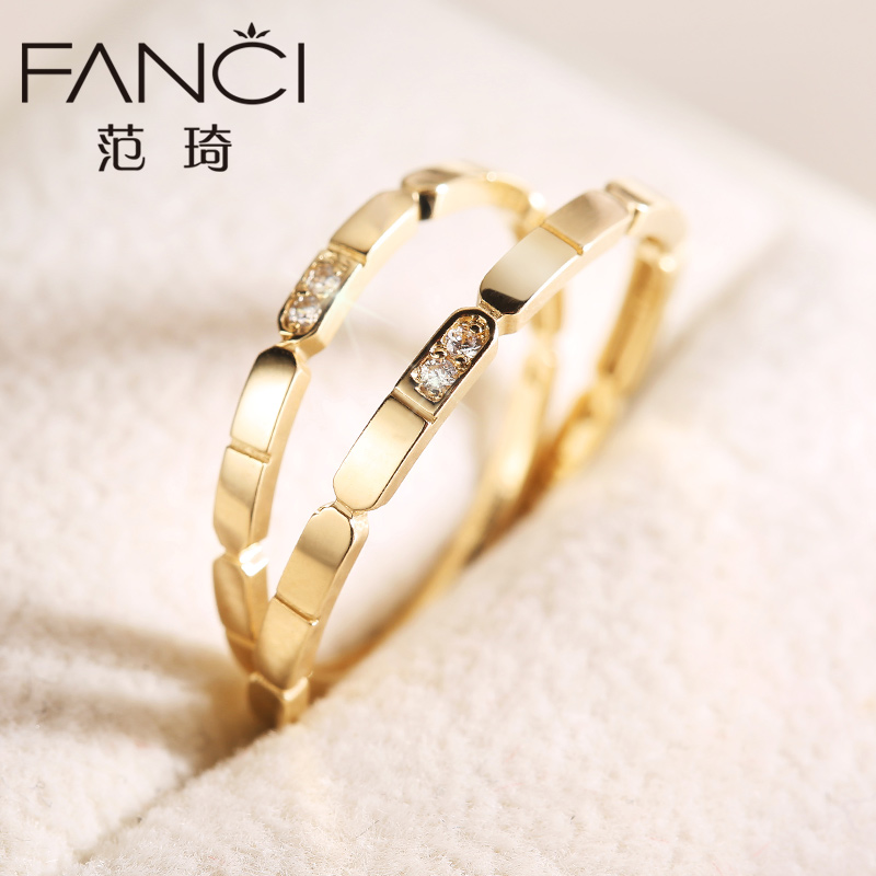 Fan qi wedding couple on the ring k gold ring color gold ring ring female korean couple birthday gift