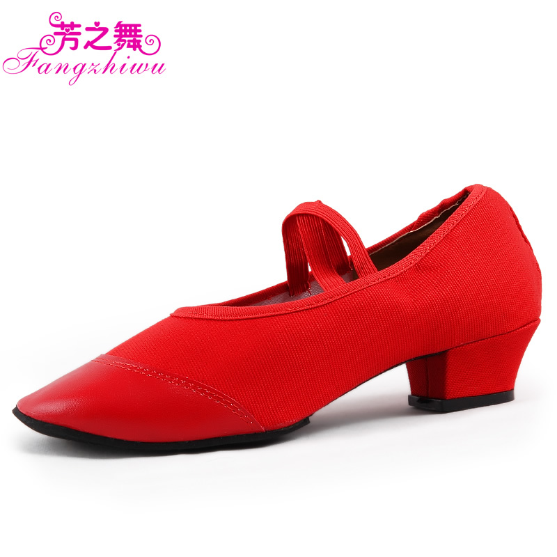 Fang dance genuine teacher full leather dance shoes square dancing shoes soled shoes practice shoes canvas shoes high heels