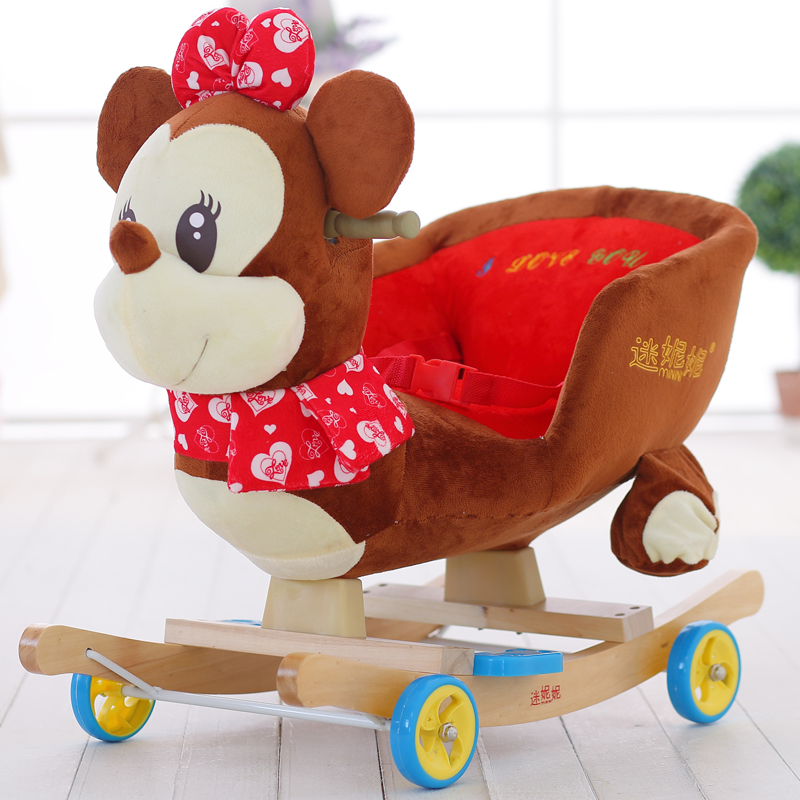 Fans nini baby educational toys children's wooden trojan horse shook his chair and shook his large baby gift with music