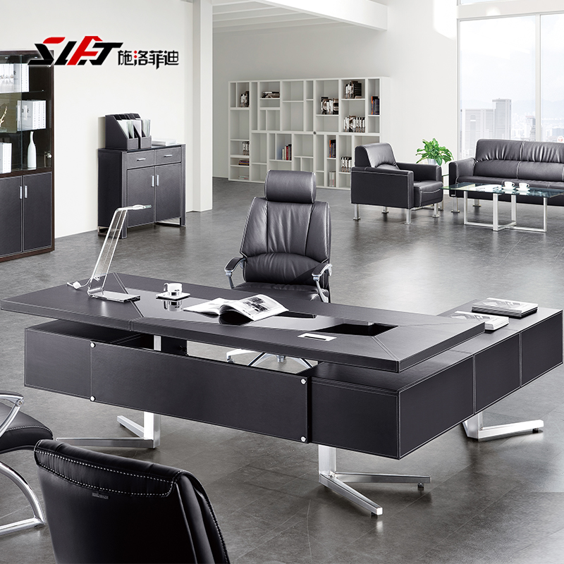 Fashion black leather office furniture minimalist modern desk ceo boss desk desk desk desk manager in charge