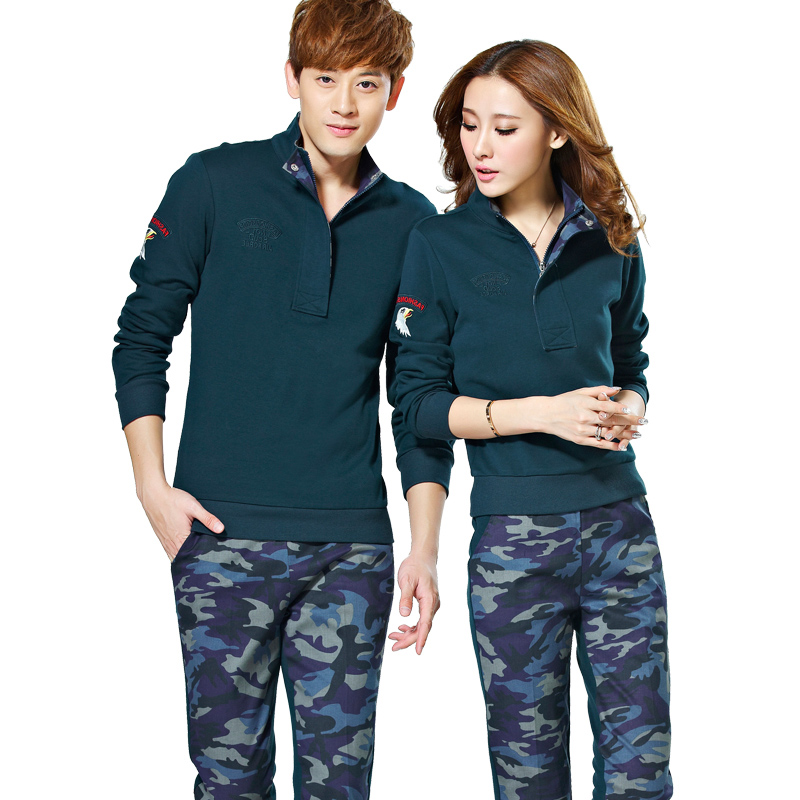 Fashion casual camouflage suit couples suite 2016 autumn new casual sports suit two sets of tide brand women