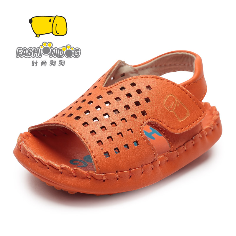 Fashion dog shoes toddler shoes boys summer sandals soft bottom hole shoes male baby 1-years of small children's shoes