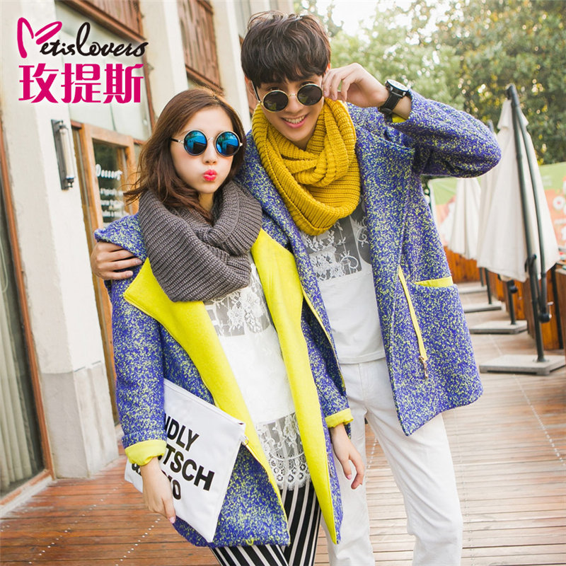 Fashion korean version of the fall and winter hoodies casual lovers lovers winter new wool coat thick coat it