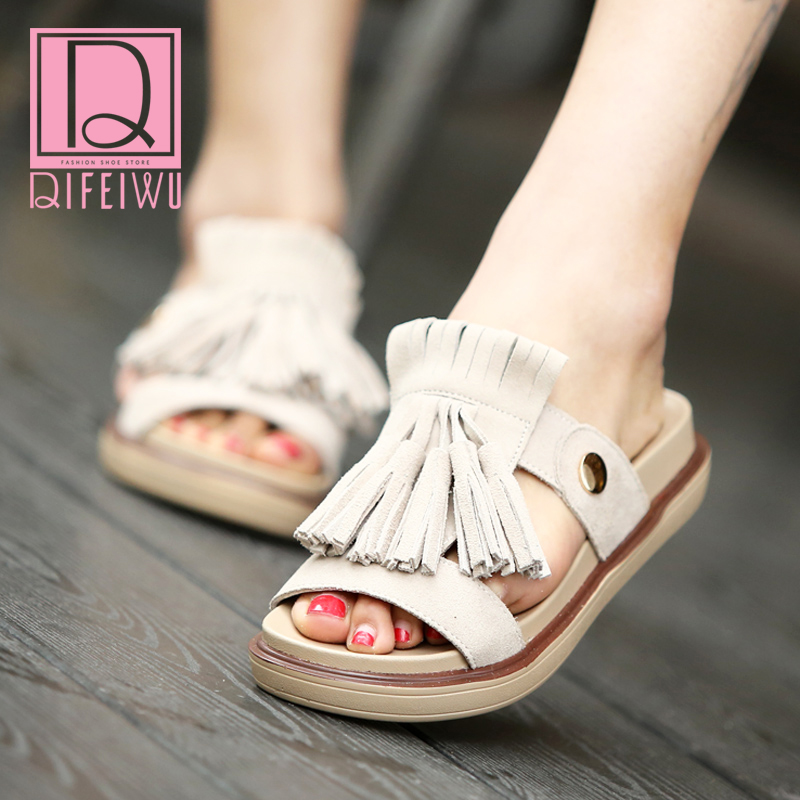 Fashion leather sandals and slippers female summer outdoor slippers 2016 korean version of outer wear tassels thick crust slip flat sandals