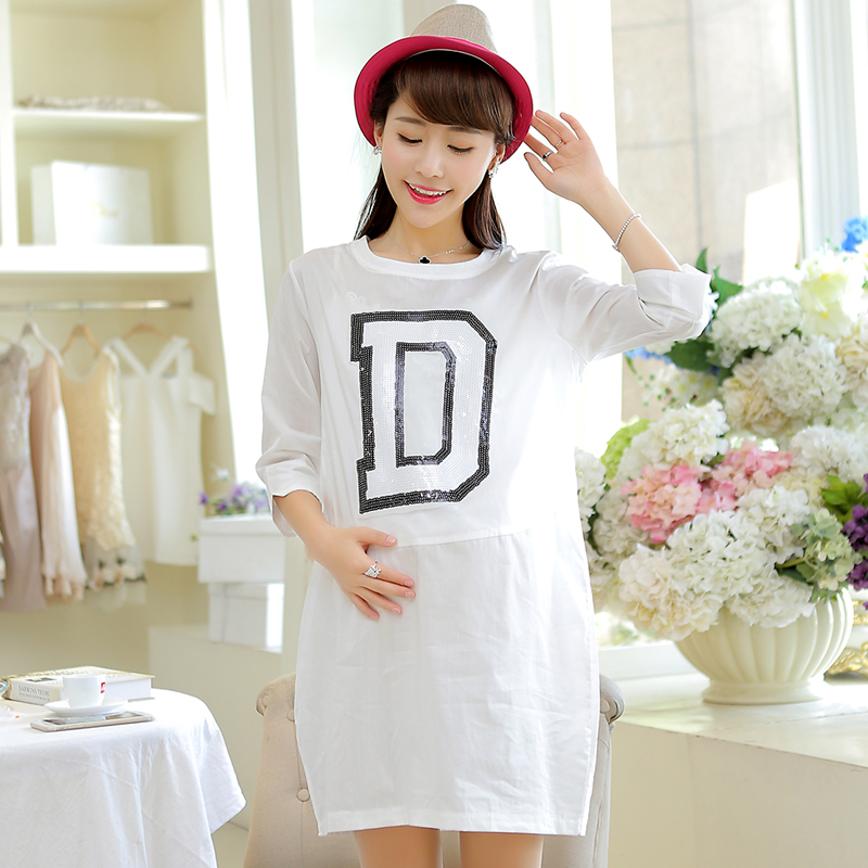 Fashion letters short sleeve t-shirt cotton summer summer fashion maternity dress korean version of the wild coat