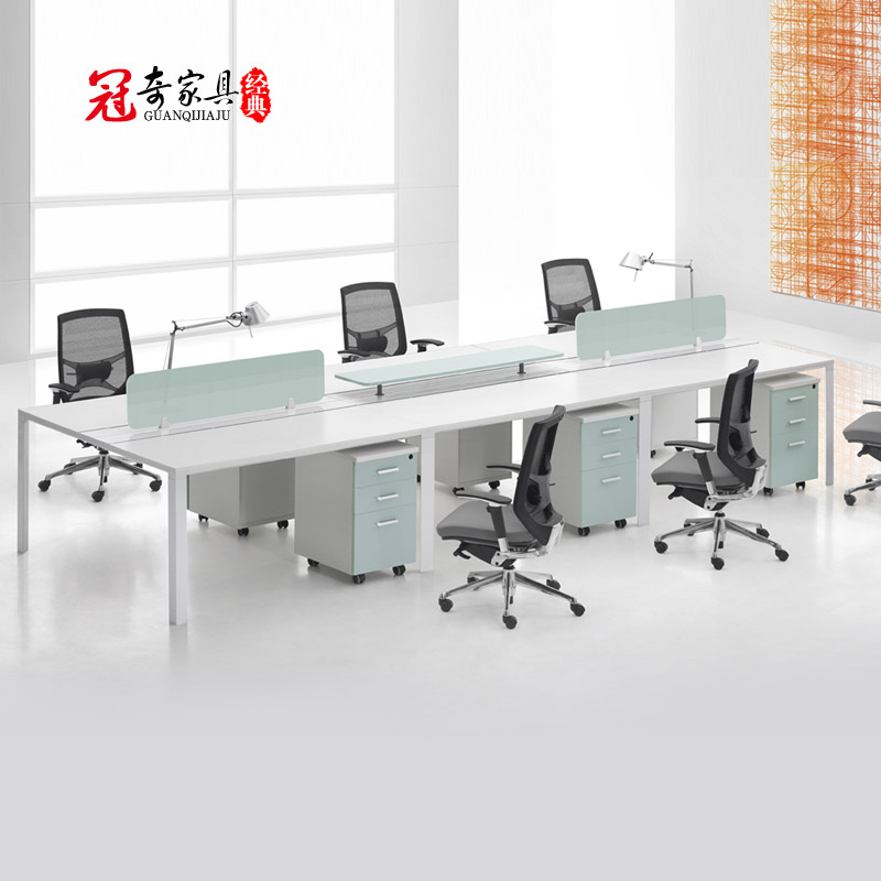 Fautsail guanqi furniture modern minimalist desk staff chair 4 person desk staff tables combination of screen work spaces