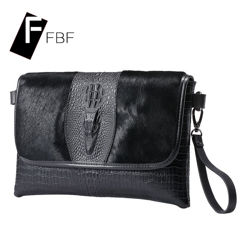 Fbf 2016 new ms. crocodile pattern leather clutch solid cross square soft surface single shoulder bag 4434