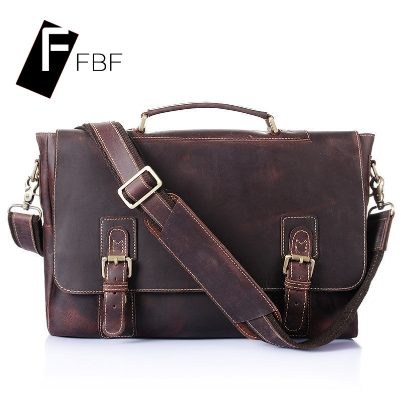Fbf european and american first layer of cowhide leather handbag single solid color men's business briefcase shoulder messenger bag 3469