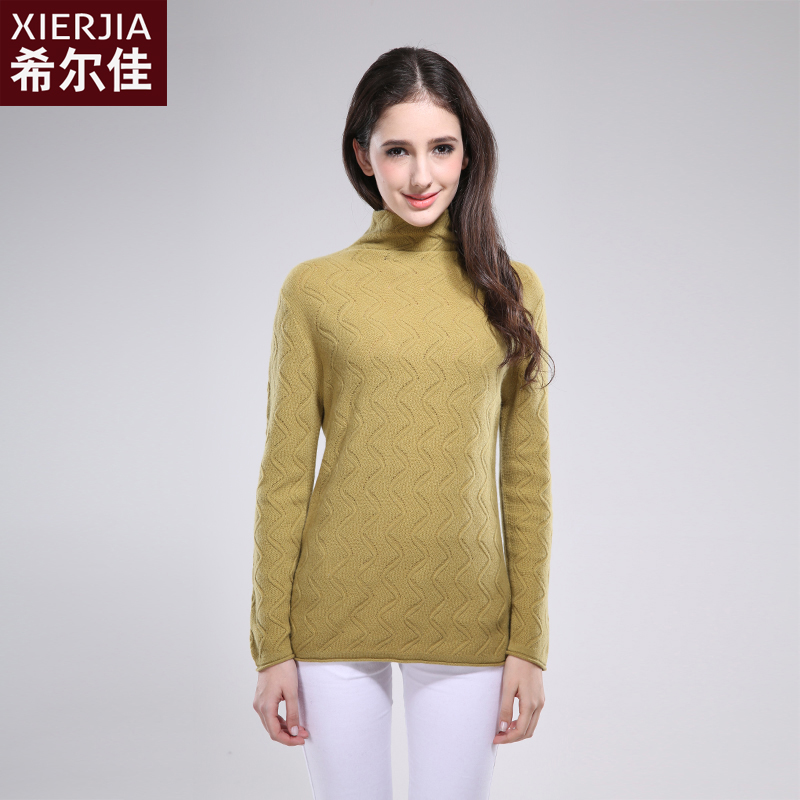 Fcenic/hill jia new piles collar cashmere sweaters pure mountain cashmere sweater fashion slim female sweater