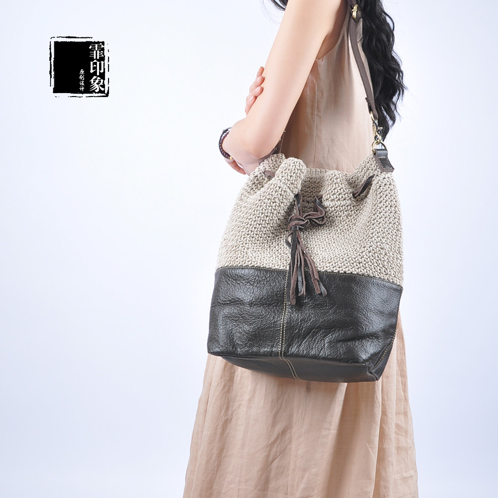 Fei impression original design handmade woven linen material stitching leather handbags hand shoulder messenger backpack female