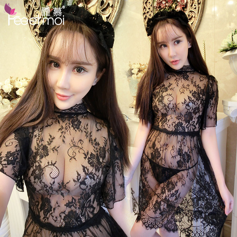 Fei mu sexy lingerie suit female sao transparent hollow lace princess dress uniform temptation pajamas skirt lm