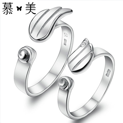 Female couple rings on the ring one pair of lettering korean version of the opening couple rings on the ring jewelry simple ring on the ring tide gift