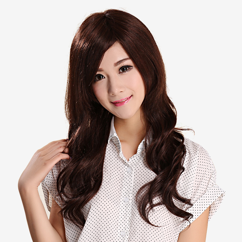 Female hair curls hair wig long curly hair carve realistic fluffy oblique bangs girls big wave of female 9ceU6dec