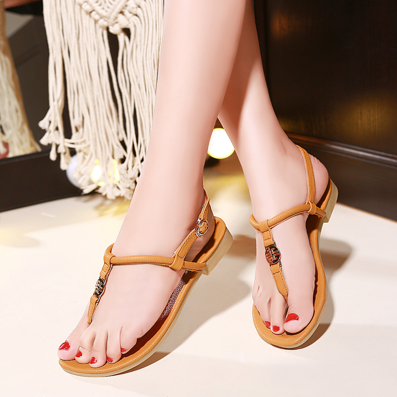 Female spring and summer sandals flip flat sandals shoes european leg of the new flat with clip toe sandals female student 2016