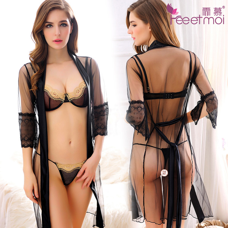 Female summer sexy transparent female sao sm contains adult sexy lingerie lace perspective three sexy lingerie suit