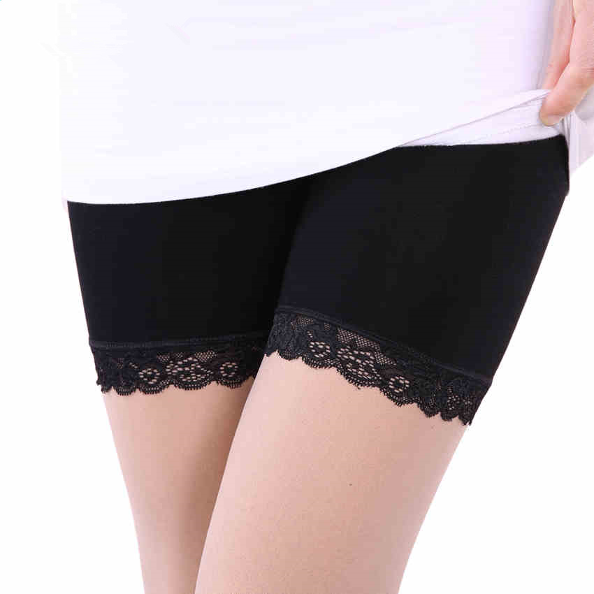 Female thin summer ice silk leggings pants anti emptied safety pants big yards lace three pants