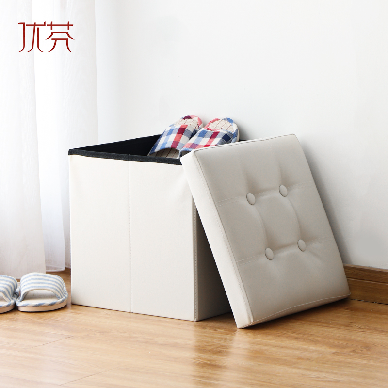 Fen excellent versatile leather folding stool storage stool to sit people four square storage box changing his shoes sofa Stool stool