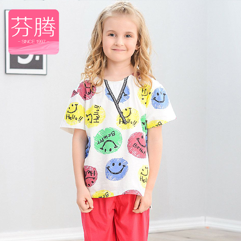 Fen teng 2016 new children's knitted cotton pajamas female summer short sleeve shorts girls cartoon thin section tracksuit suit