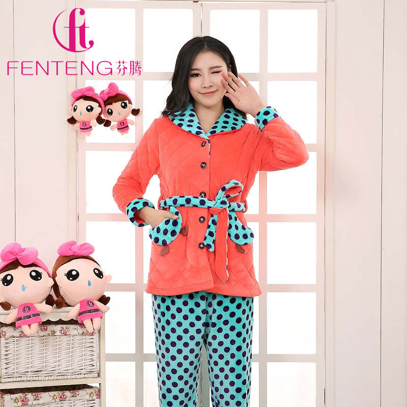 Fen teng coral velvet pajamas female winter spring and autumn fen teng ms. winter pajamas suit thicker korean special clearance warehouse