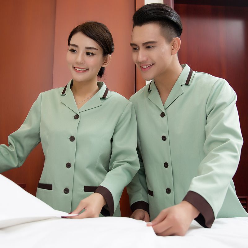 Feng ming hotel waiter sleeved work uniforms pa hotel room cleaning service hotel uniforms fall and winter clothes