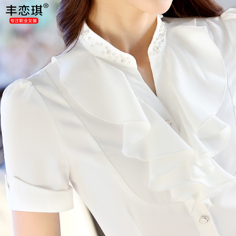 Feng qi love 2016 ladies dress temperament wear short sleeve shirt shirt slim iron tooling work clothes summer