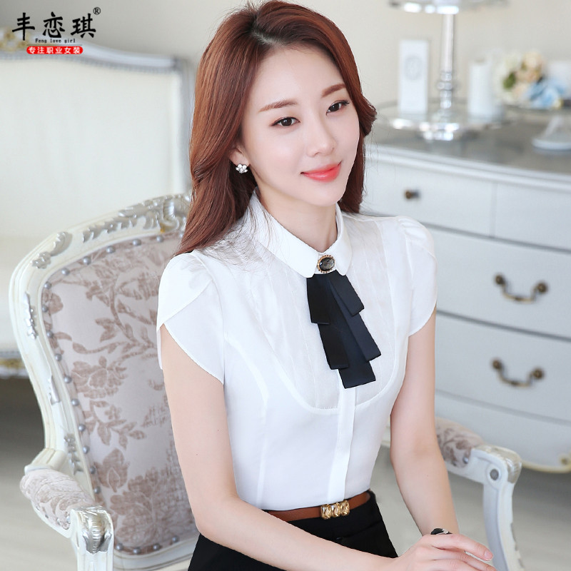 Feng qi love beautician skirt new summer wear short sleeve shirt fashion shirt tooling work clothes breathable