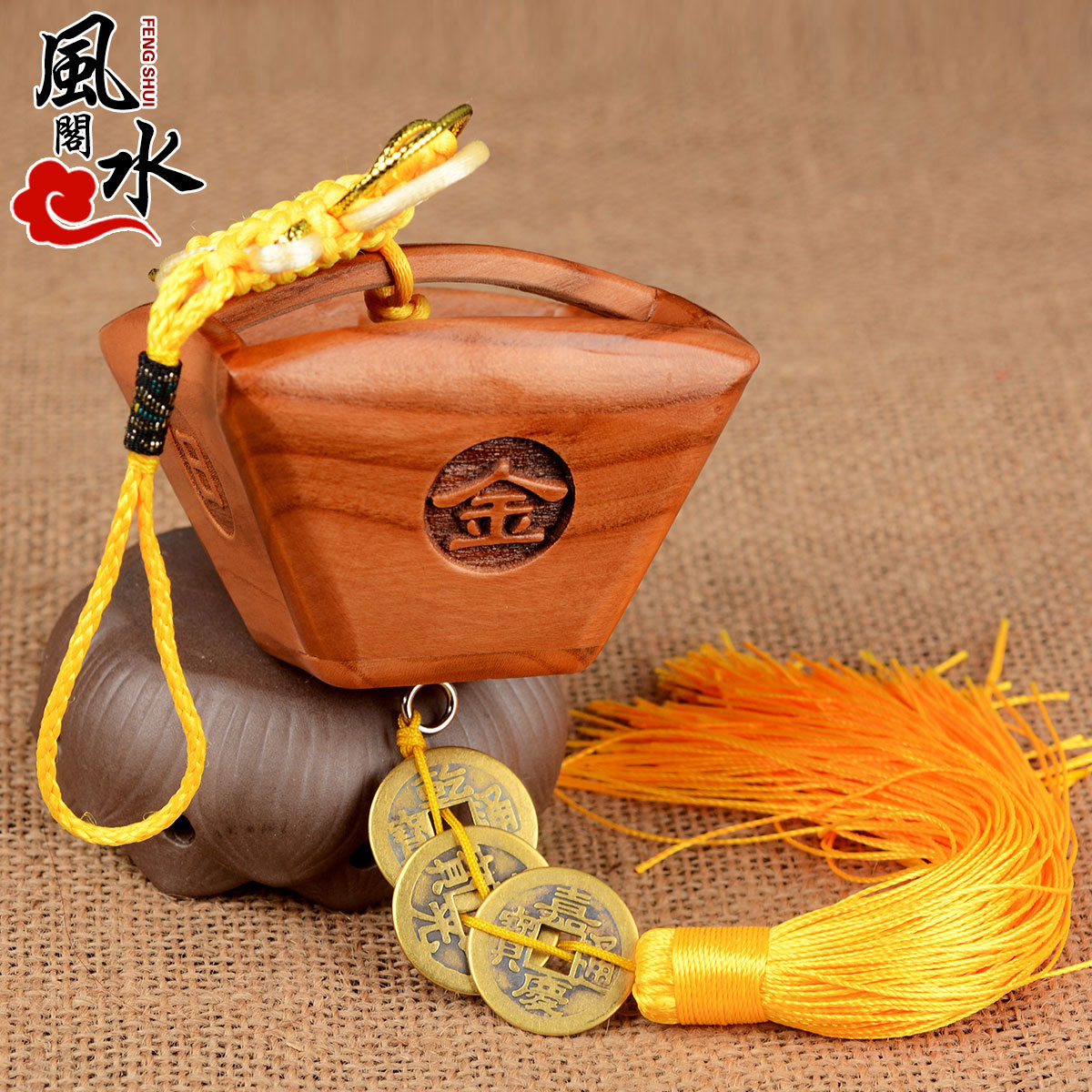 Feng shui court opening mahogany enrichment archaized rijindoujin m bucket bucket ornaments crafts opening gifts lucky