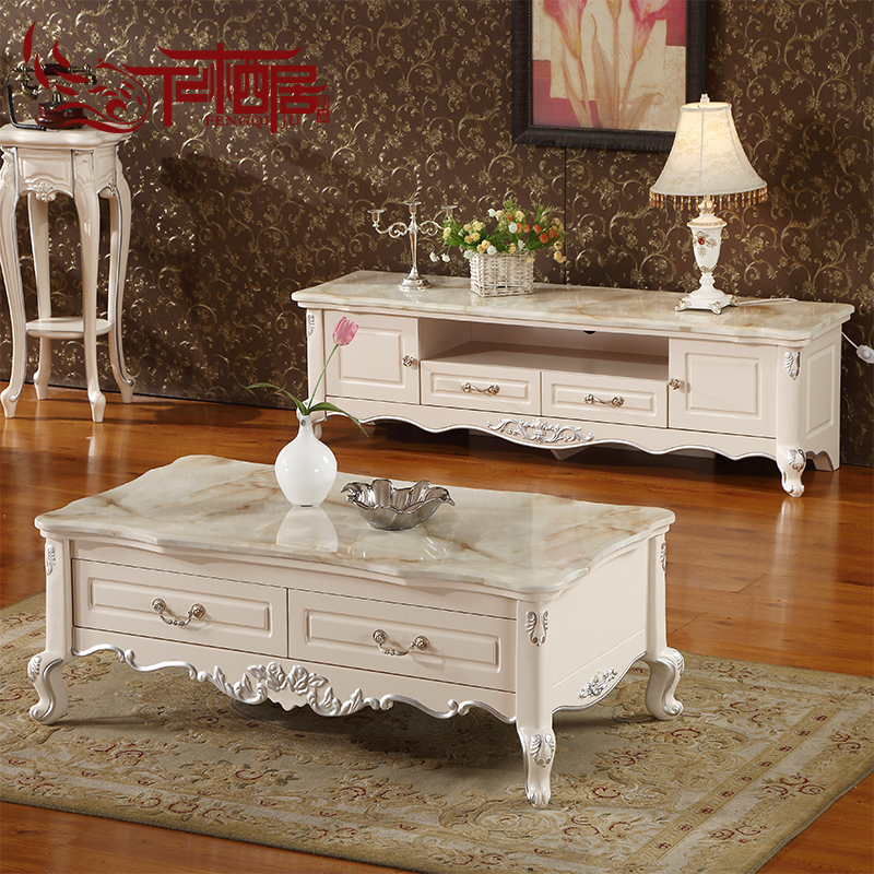 Fengqi ranking european french carved wood coffee table tv cabinet combination packages small family living room furniture