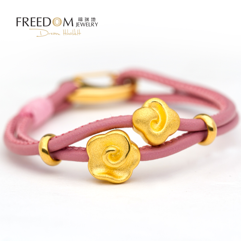 Ferrer to new ladies fashion pure gold flowers and clouds 3d hard gold transfer beads bracelet beaded leather cord bracelet