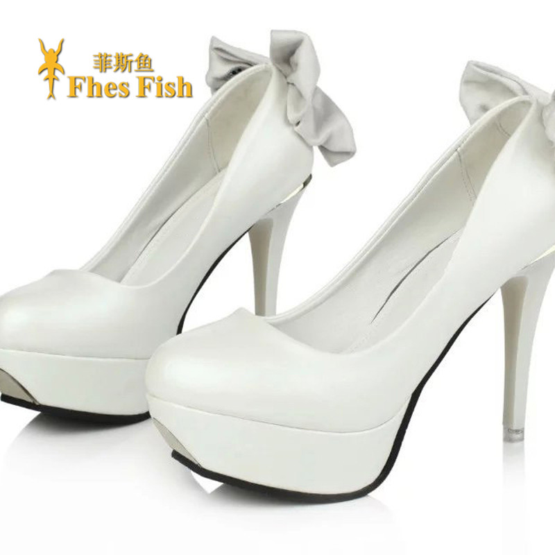 Fhesfish custom 2016 korean version of spring and summer sweet bow fine with high heels shoes fashion shoes waterproof shoes
