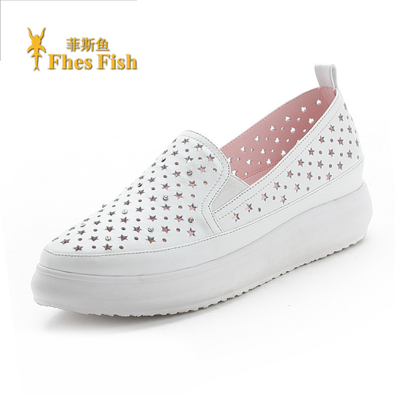 Fhesfish custom 2016 spring and summer leather flat shoes in the mouth with hollow solid color sets foot shoes
