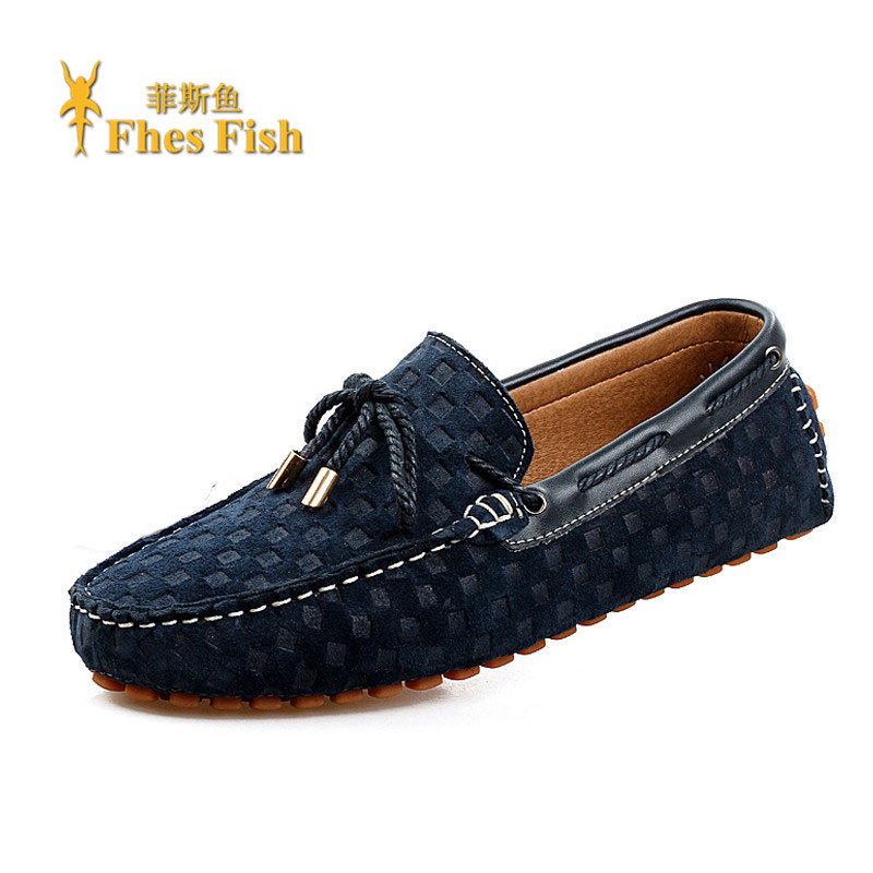 Fhesfish custom men's lace casual shoes leather driving shoes peas korean version of the trend of youth shoes