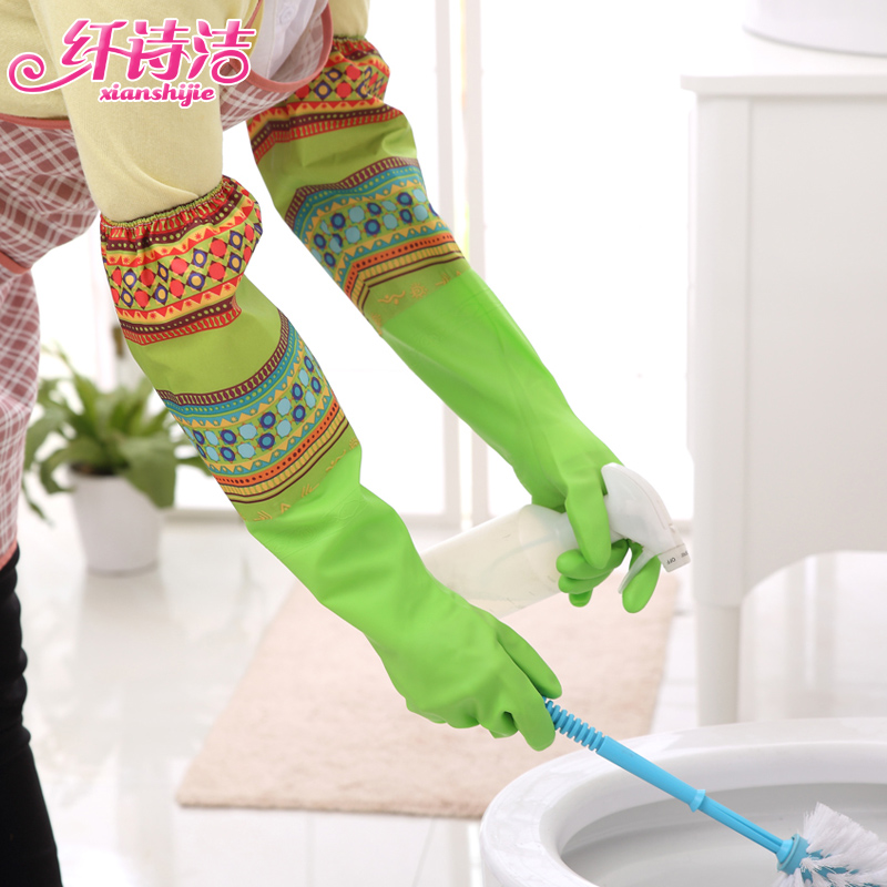 Fiber poem clean velvet glove extended housework laundry dishwashing gloves latex rubber gloves plus thick warm waterproof gloves