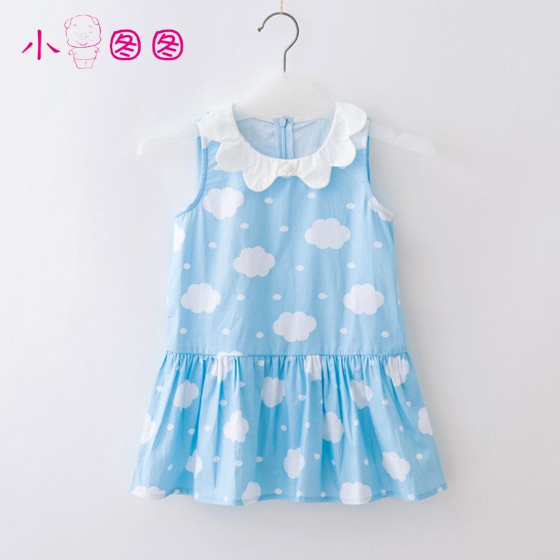 Figure piggy girls summer princess dress children summer sleeveless vest skirt big virgin pure cotton skirt
