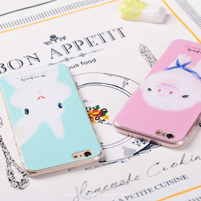 Fingertips obsessed rabbit pig soft shell apple iphone6 phone shell mobile phone shell s plus protective shell mobile phone sets 5s
